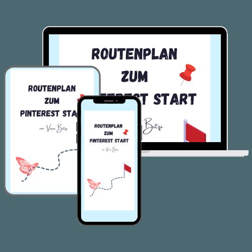 E-Book Routenplan zum Pinterest Start auf Laptop, Tablet und Smartphone angezeigt